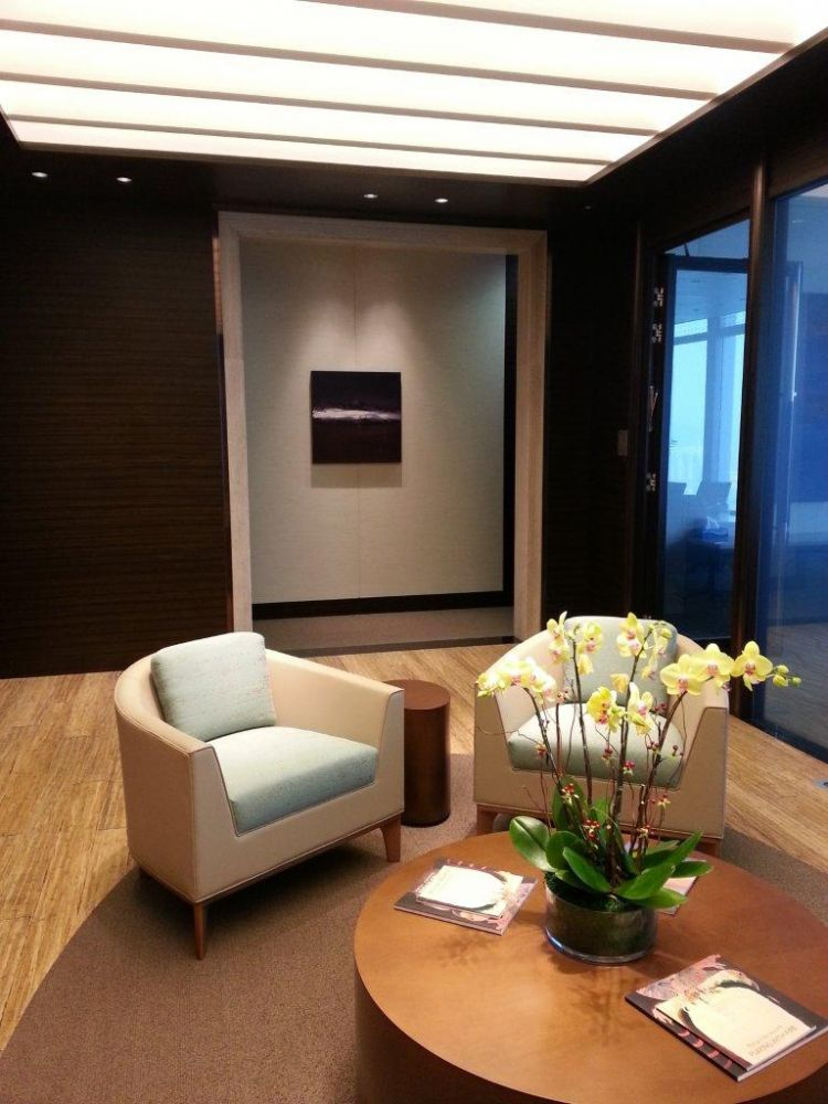 Photo of Leanne's Indigo painting in Hong Kong Client's lobby