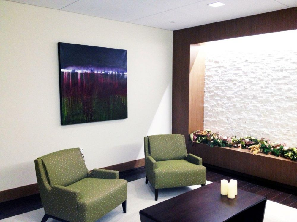Leanne Venier's 4 ft x 4 ft painting, Vanishing in Time, installed in Dallas Client's lobby