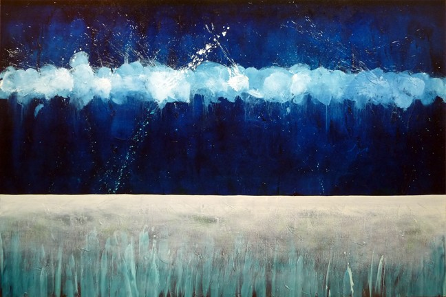 Calming Blue Abstract oil painting by Leanne Venier