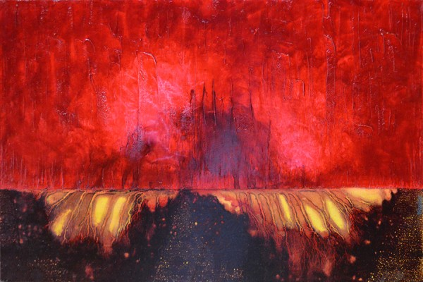 Fiery red Flow State painting by International award-winning artist, Leanne Venier