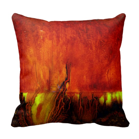 Photo of Leanne Venier's healing colors RED painting printed on a beautiful pillow