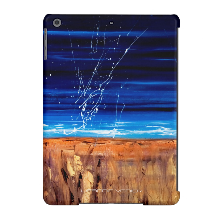 Image of Leanne's beautiful blue painting on a tablet case
