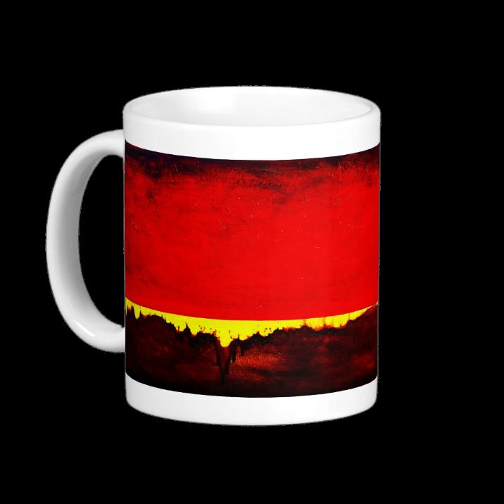 Photo of Leanne Venier's healing Red painting on a Healing Colors, Color Therapy Mug