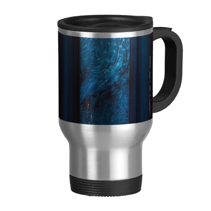 Image of Leanne's healing teal painting on a travel mug