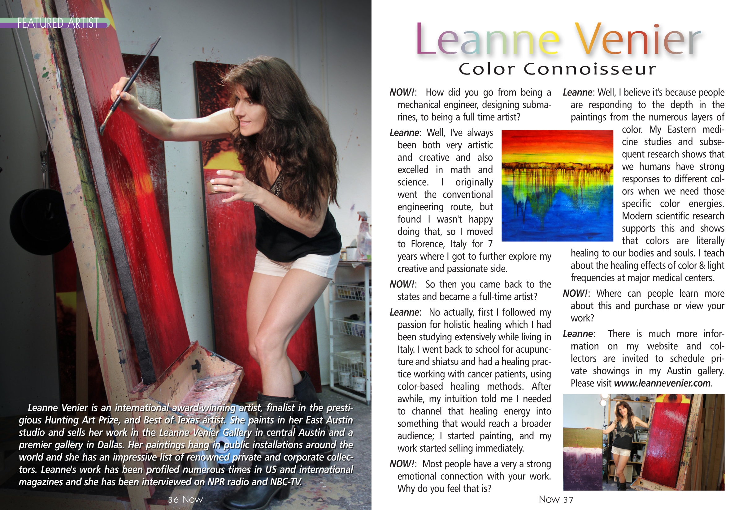 Leanne Venier Featured Artist for NOW! Magazine