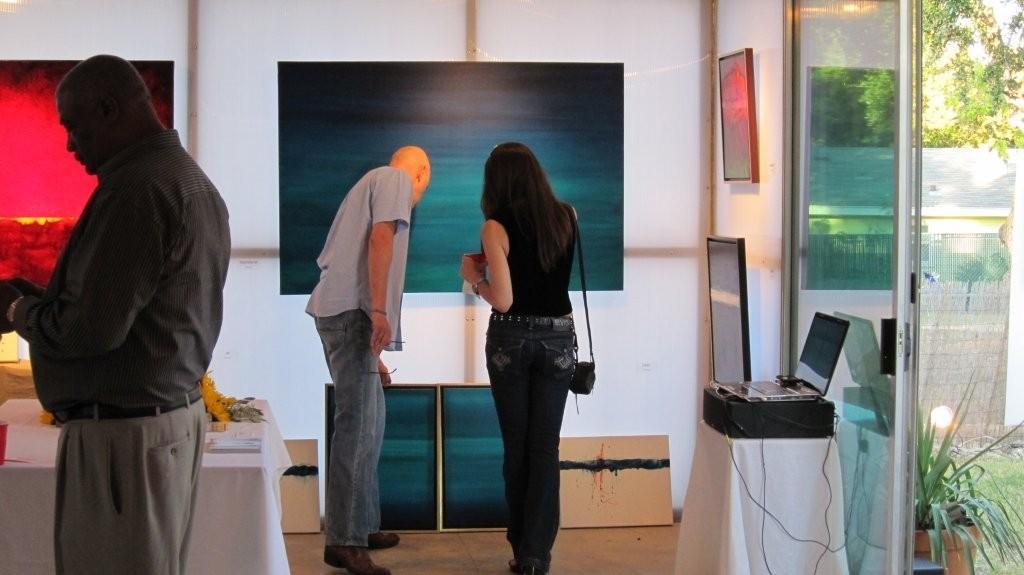 Leanne Venier Gallery interior - Leanne showing work