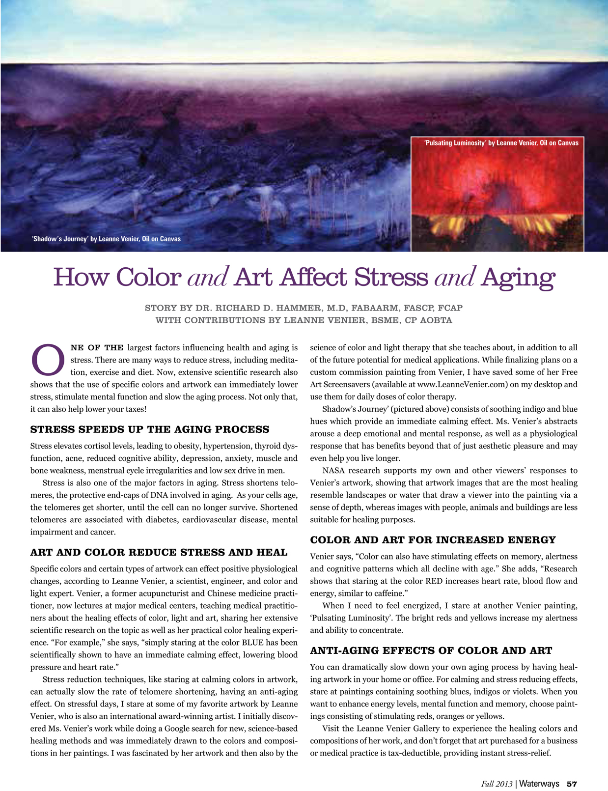 Article by Dr. Richard D. Hammer about the Healing Effects of Leanne's artwork - How Color and Art affect Stress and Aging